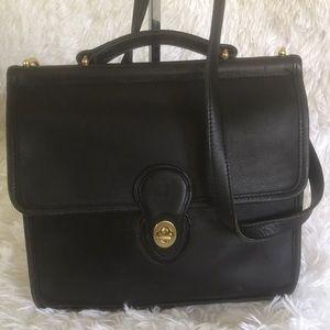 Coach Vintage Willis Black Leather Crossbody Bag.